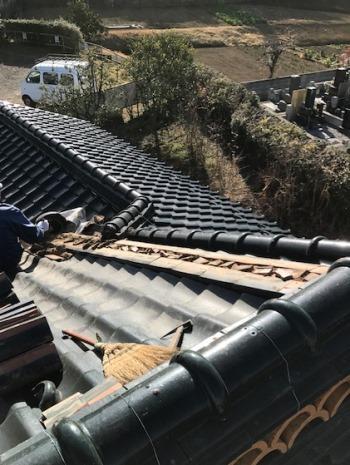 屋根棟補修工事